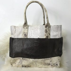Blu + Baker hand painted python leather tote bag.